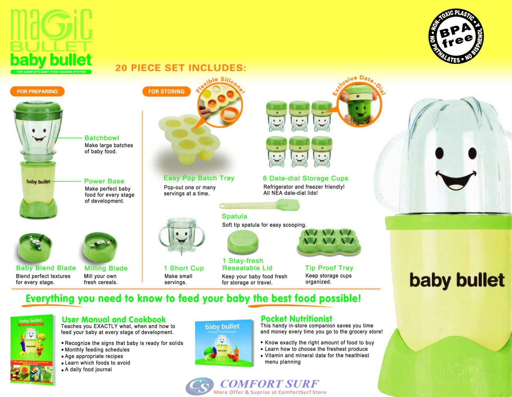 As Seen On TV Baby Bullet Baby Food Maker BPA-Free 20-Piece Set Feeding Blender