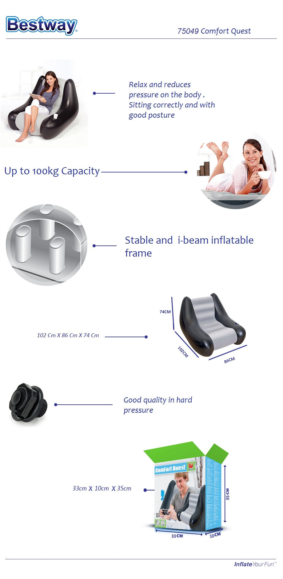 New !! BestWay 75049 Inflatable Lounge Air Chair Relaxing Single Air Chair