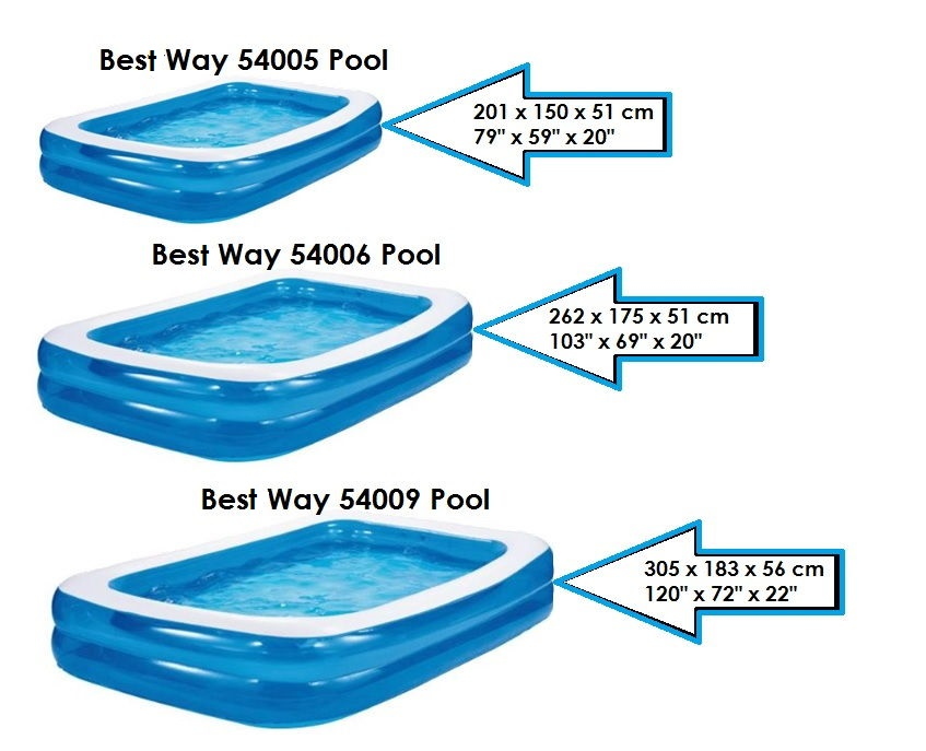 Bestway inflatable paddling pool 54005 family size for Small paddling pool