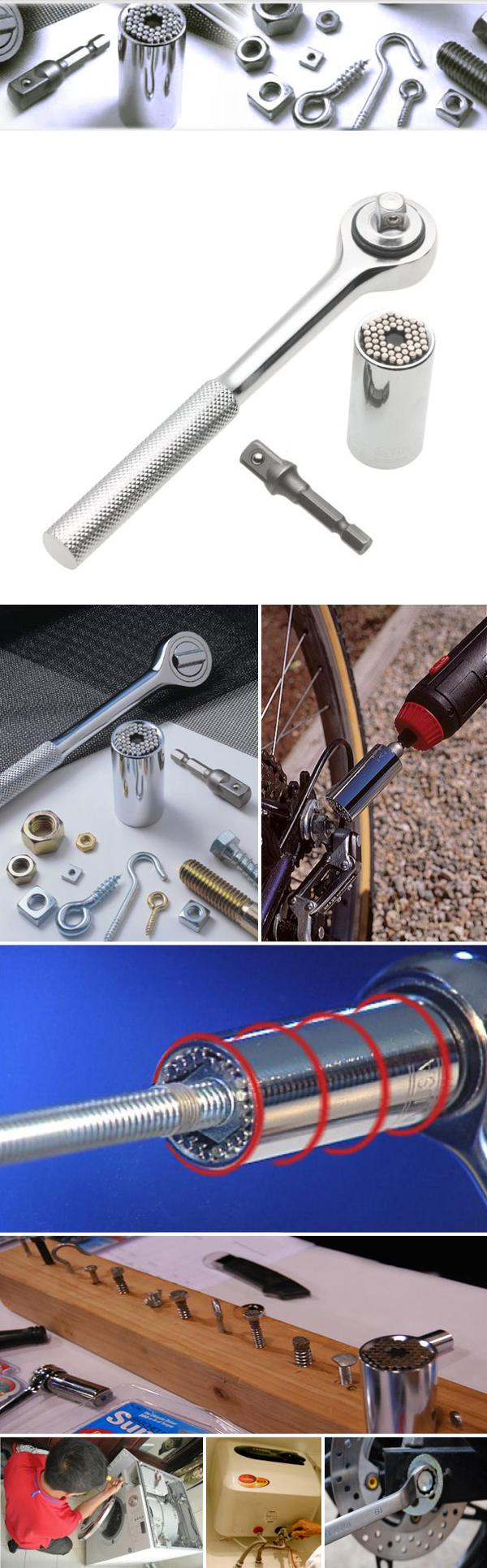 3pcs Set Magic Gator Grip Chrome Universal Multi-function Socket 7-19mm Ratchet Wrench Tool