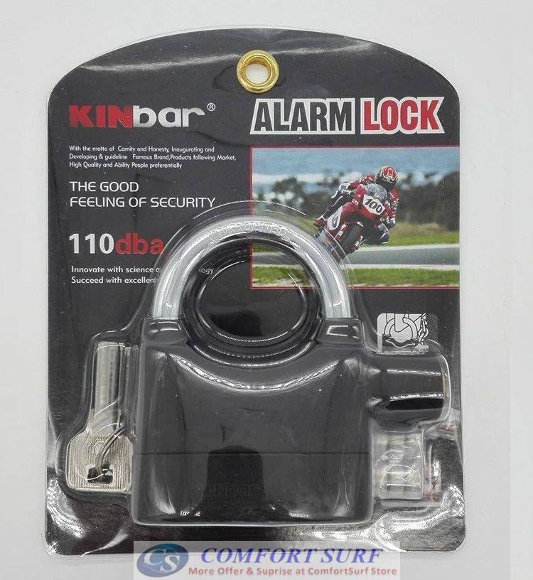 ORIGINAL Kinbar SIREN ALARM PADLOCK for DOOR/Motor/Bike/Car PAD LOCK 110db Anti-Theft Security Alarm