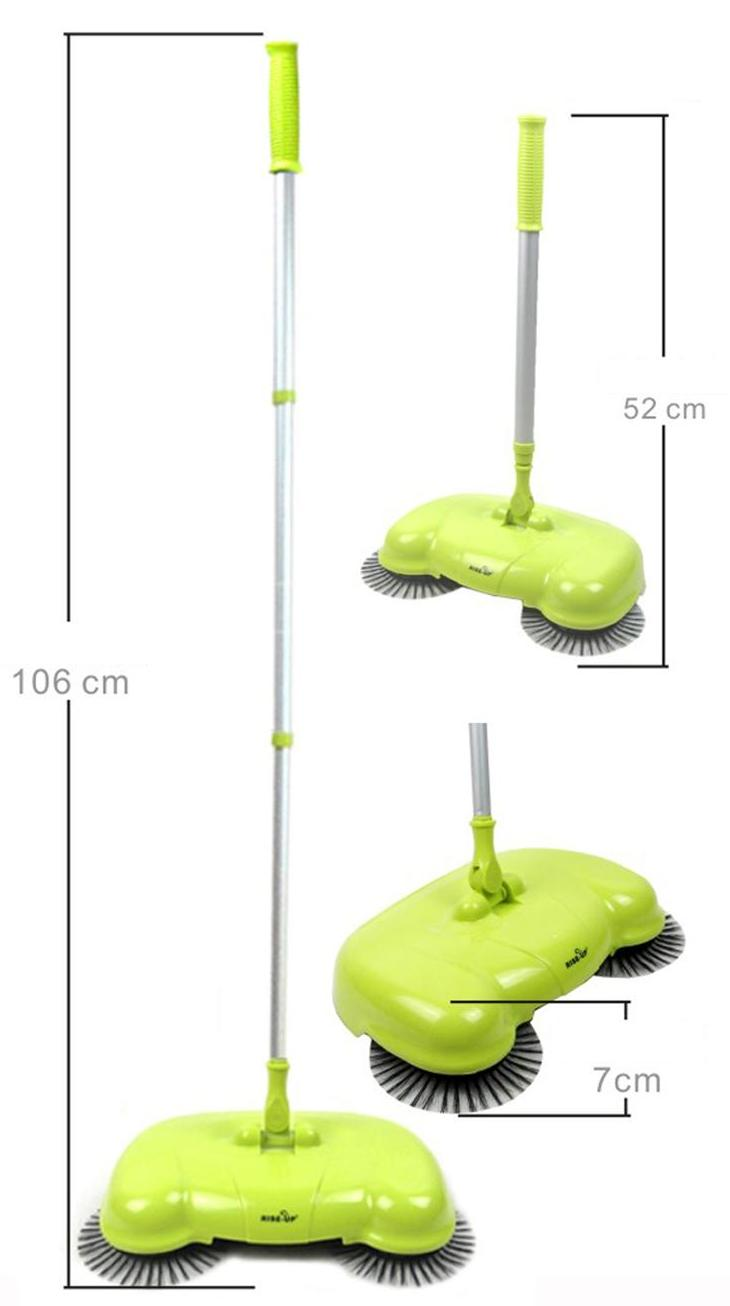 Portable Eco Green Sweeper Broom Vacuum Cleaner 360 Rotate