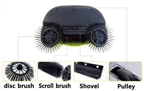 Portable Eco Green Sweeper Broom Vacuum Cleaner 360 Rotate