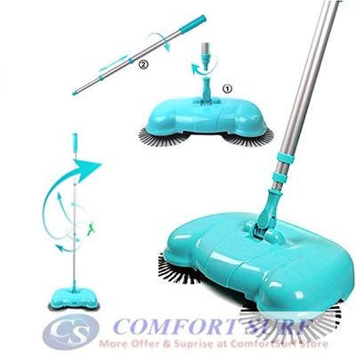 New !! Portable Eco Green Smart Dustman Sweeper Broom Vacuum Cleaners 360 Rotate Without Electricity
