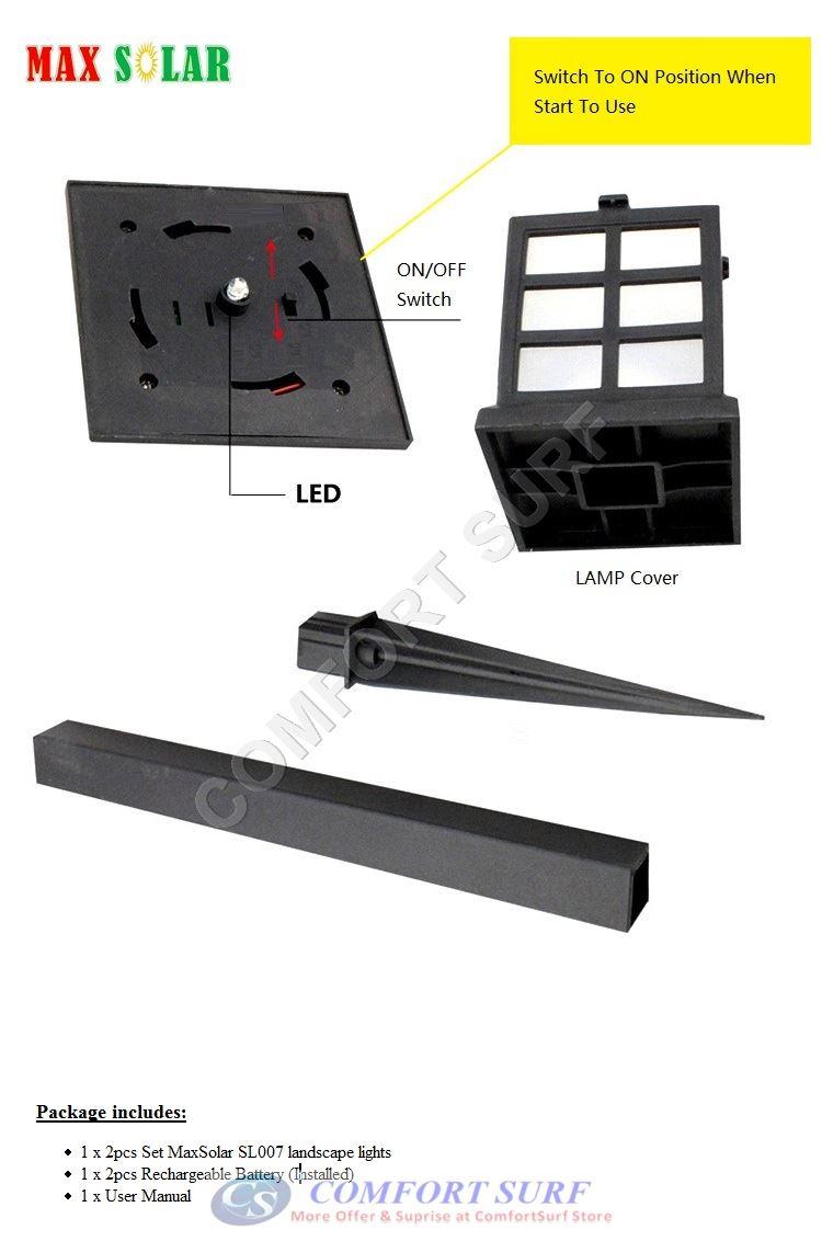 2 Pcs Solar Powered LED Yard Lawn Light Party Path Outdoor Spotlight Garden Lamp