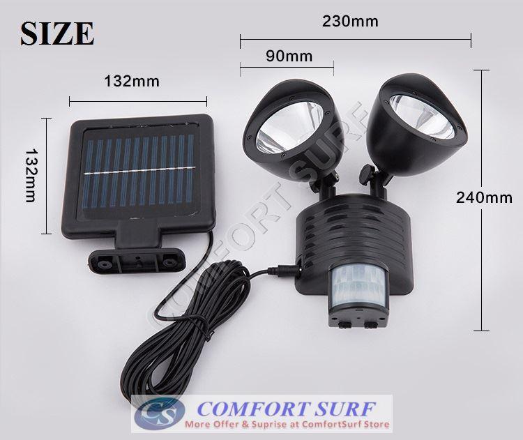 MAX Solar Power Super Bright 60 LEDs Security Motion Sensor Light 3 Modes Adjustable (SENS/TIME/LUX)