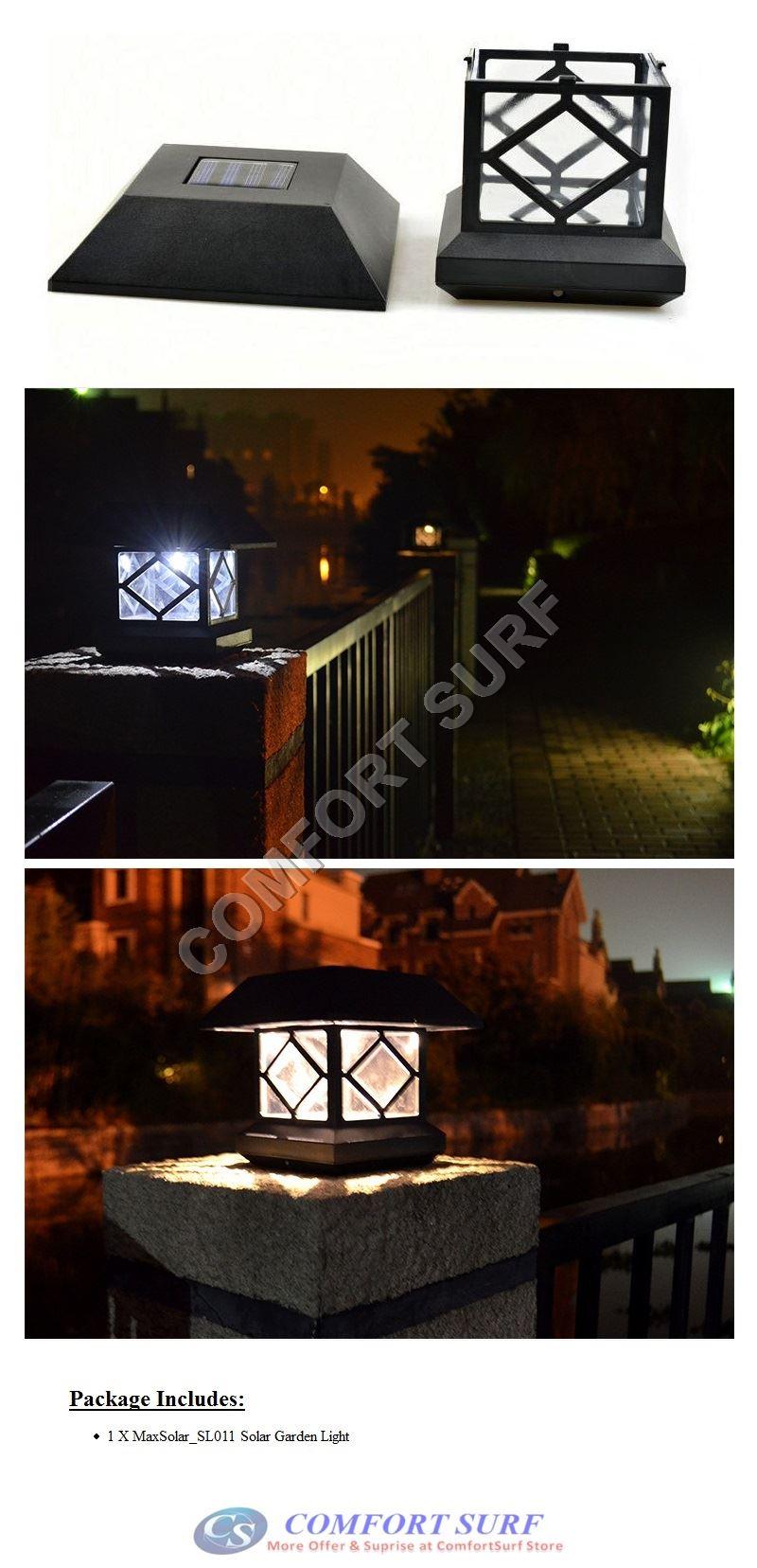 MaxSolar SL011 Outdoor Solar Powered LED Light Gate Pillar Way Landscape Garden Fence Decoration Lamp