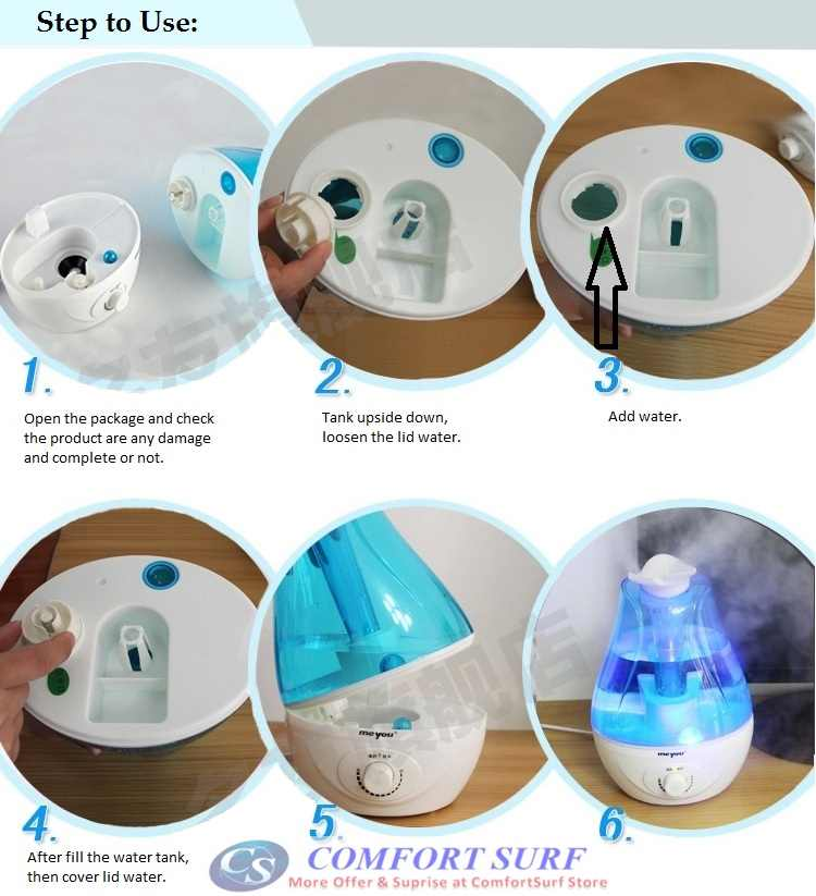 Ultrasonic Air Humidifier Purifier Aromatic Therapy with 3L Tank Capacity