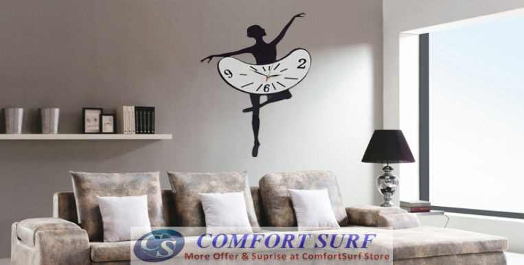 Creative Interior Decoration Frameless DIY Wall Acrylic Clock - Woman Ballet Dance Design