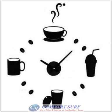 DIY Wall Acrylic Clock - Tea Time Drinking Design