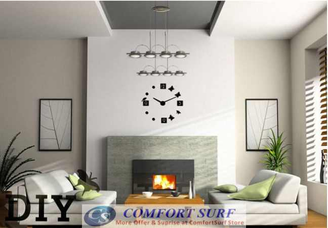 DIY Wall Acrylic Clock - Bird Butterfly Design