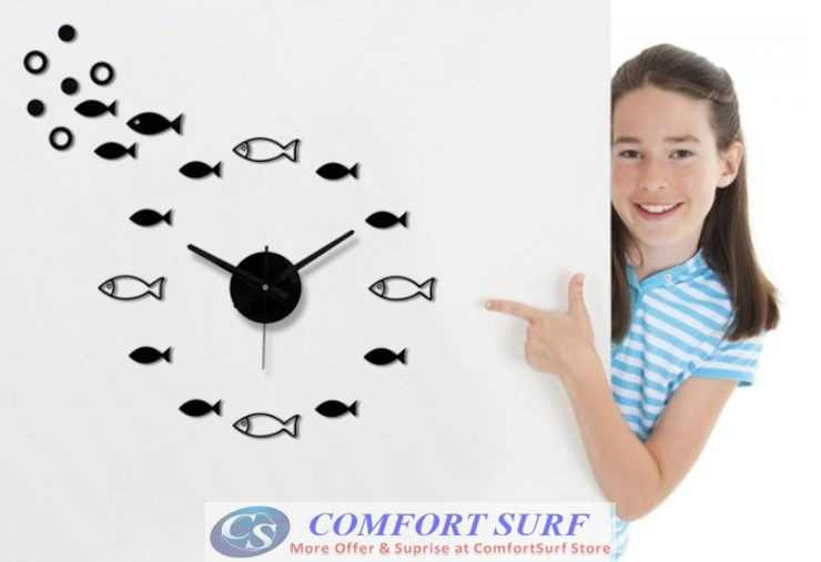 DIY Wall Acrylic Clock - Fish Design