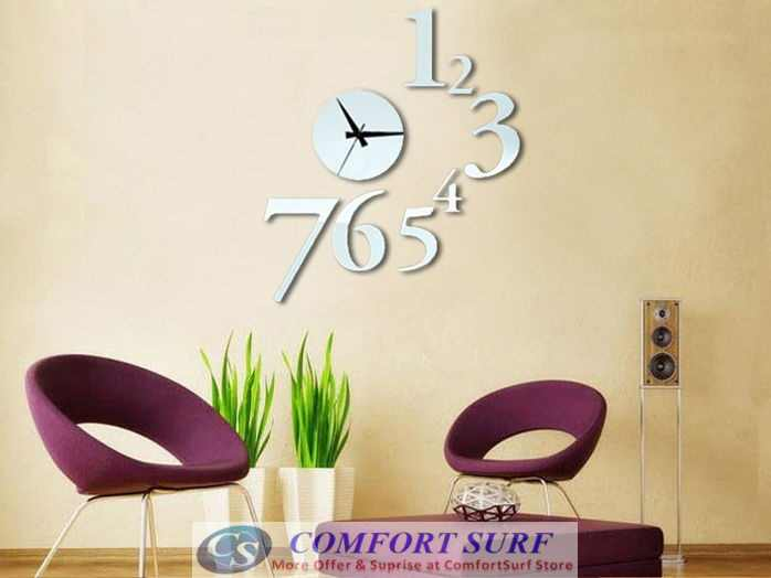 DIY Creative Interior Decoration Framelss Mirror Wall Acrylic Clock
