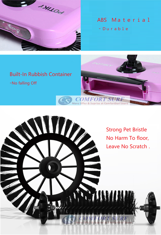 Upgrade Whirlwind Spin Broom Floor Cleaning Stainless Steel Roller Mop Sweeper