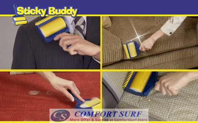 Reusable & Washable Sticky Buddy Roller Cleaner with Built-In Fingers!