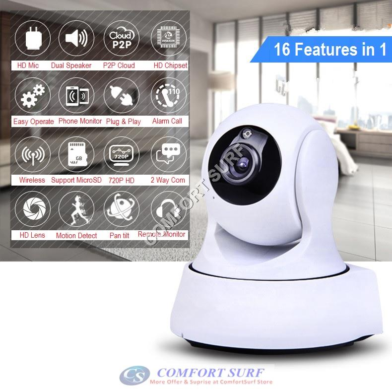 SecurEyes 1280*720P HD P2P Wireless IP Camera With Motion Sensor + IR Night Vision/MicroSD via Smartphone - Alarm Phone Calling + Support Motion Alarm Message