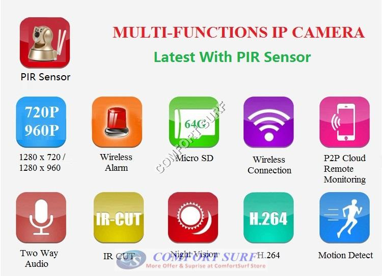 Wide Angle 960P / 720P HD P2P Wireless IP Camera With PIR Motion Sensor + IR Night Vision / MicroSD via Smartphone - Alarm Phone Calling