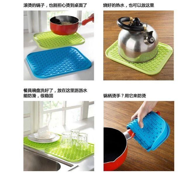 3pcs of White Silicone Mat Heat Kitchen Pot Pan Holder Anti-slip Resistant