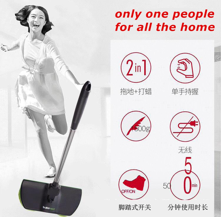 AS SEEN ON TV SuperMaid Electric Spin Mop Cordless Electric Rotary Rechargeable Floor Sweeper