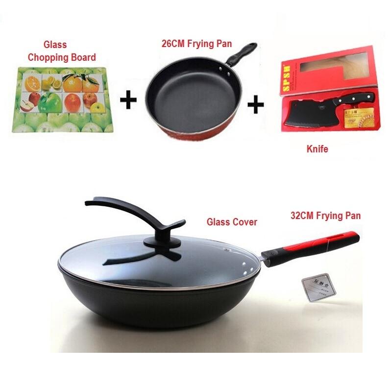 5pcs Set 32CM 26CM Non-Stick Frying Pan + Glass Cover + Knife + Glass Chopping Board
