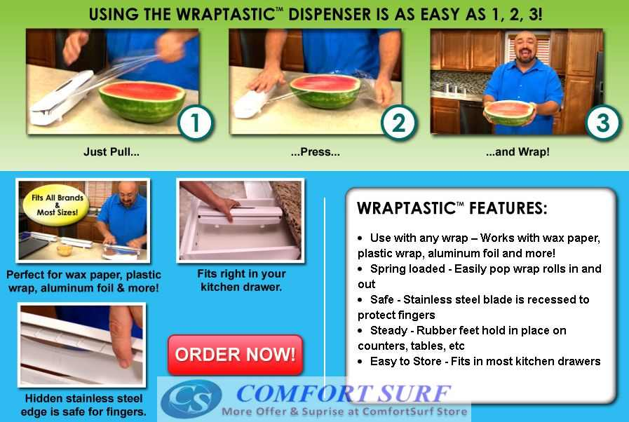 Wraptastic Dispenser Wrap Food in a Flash!
