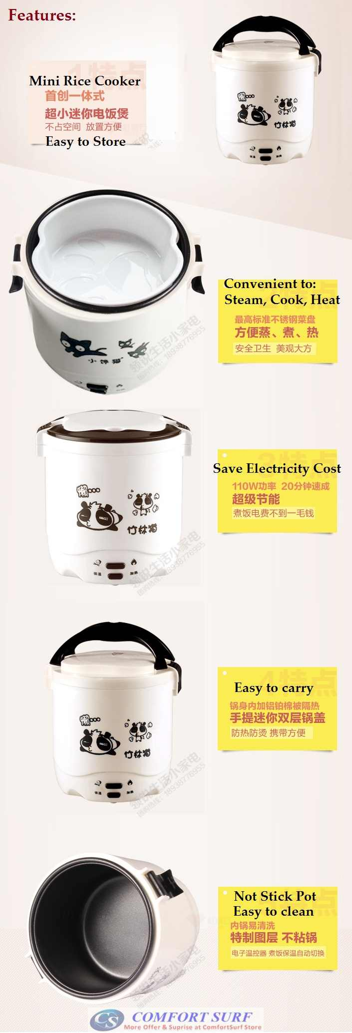 Multifunction Non-Stick Mini Rice Cooker