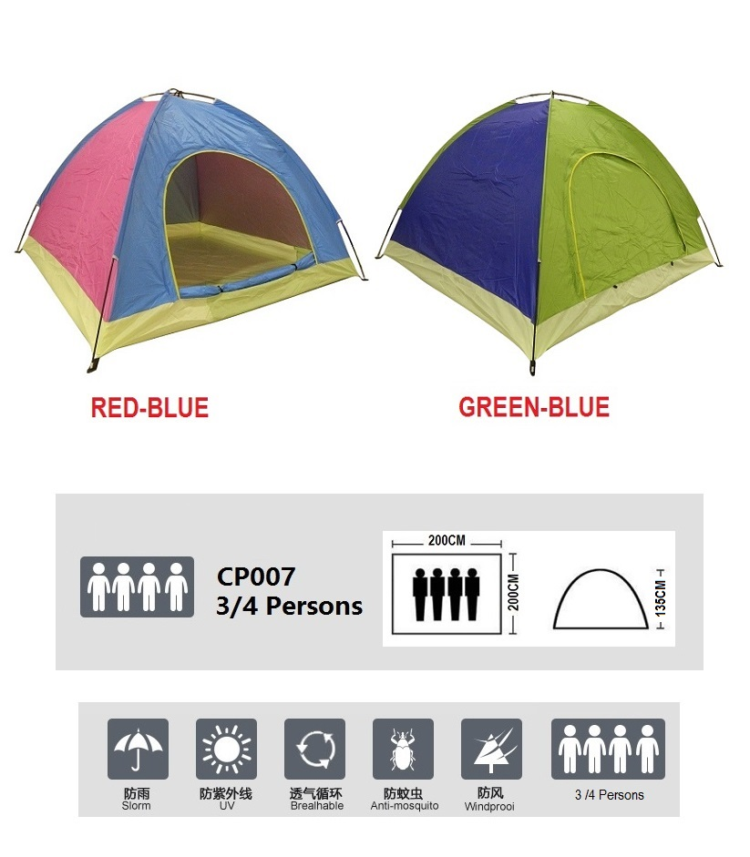 New Outdoor Single Layer Single Door + Back Window Waterproof Camping Tent 3/4 Persons + Free Carry Bag