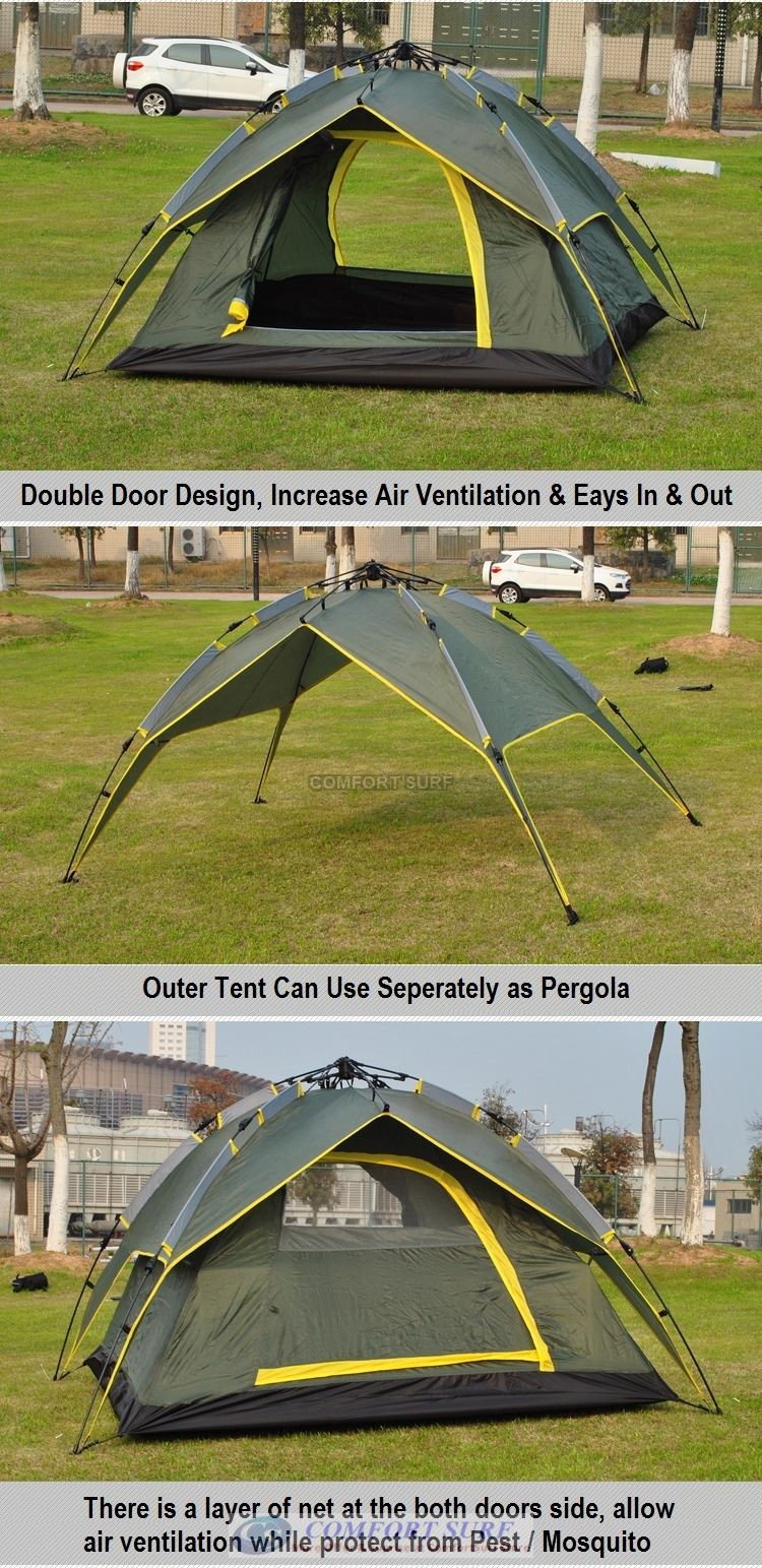 New CP009 Outdoor Double Layer Double Door + Dual Use Waterproof Automatic Camping Tent 3/4 Persons + Free Carry Bag