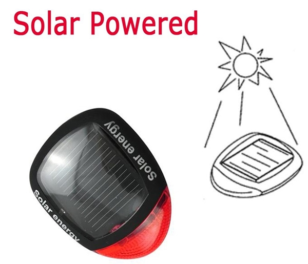2 LED Solar Power Charge Bicycle Tail Light Cycling Rear Red Light Bike