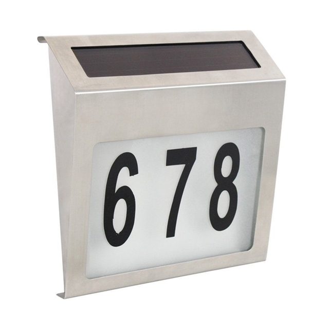 MaxSolar Solar Powered Back LIT Lighted Sign House Number Plaque Nombor Rumah