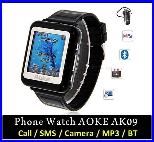 Aoke 09 AK09 Unlocked Wrist Watch Phone Camera Touch Screen /w Bluetooth Mobile Cell Phone Video Recording