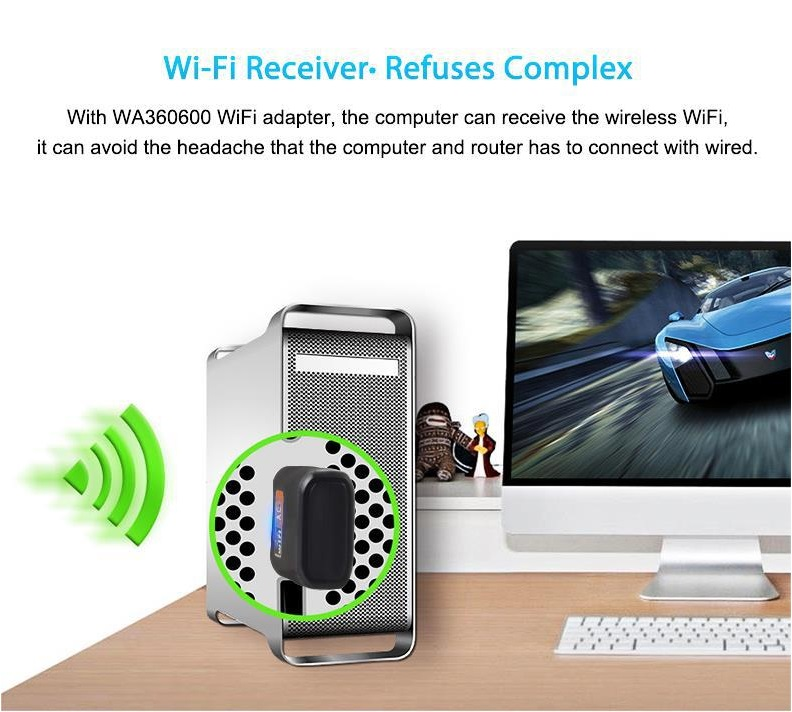 Wireless AC 600Mbps Dual Banc Wifi Mini USB Adapter