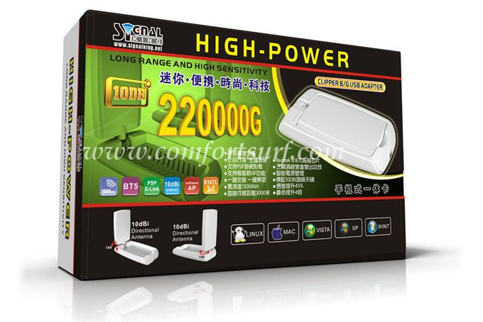Signalking 220000G 10dBi 1500mW High Power Wireless 802.11b/g 54Mbps USB Wifi Adapter