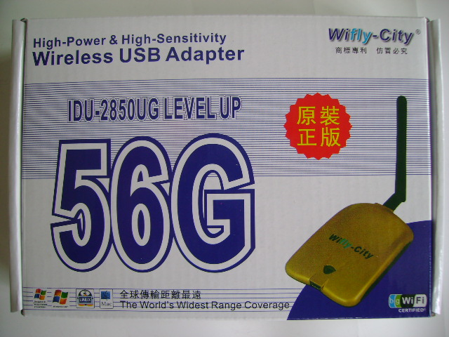 Wifly-City 56G 1600mW High Power 54Mbps 802.11b/g USB Wireless Adapter
