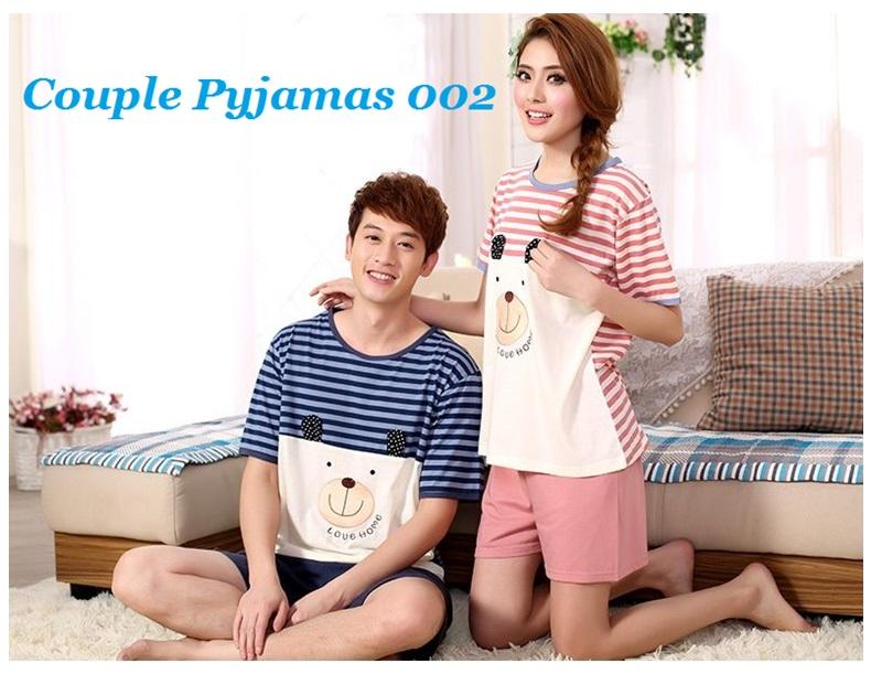Men Women Lovers Night Dress Sleepwear Couple Pajamas Cotton Short Sleeved