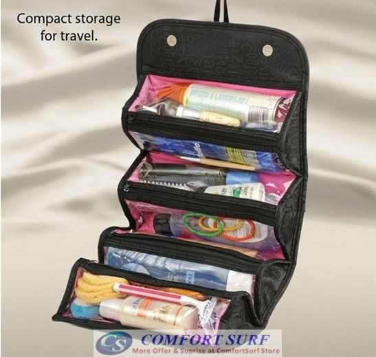 Roll-N-Go Travel Cosmetic Toiletries Jewelry Organizer Store Bag