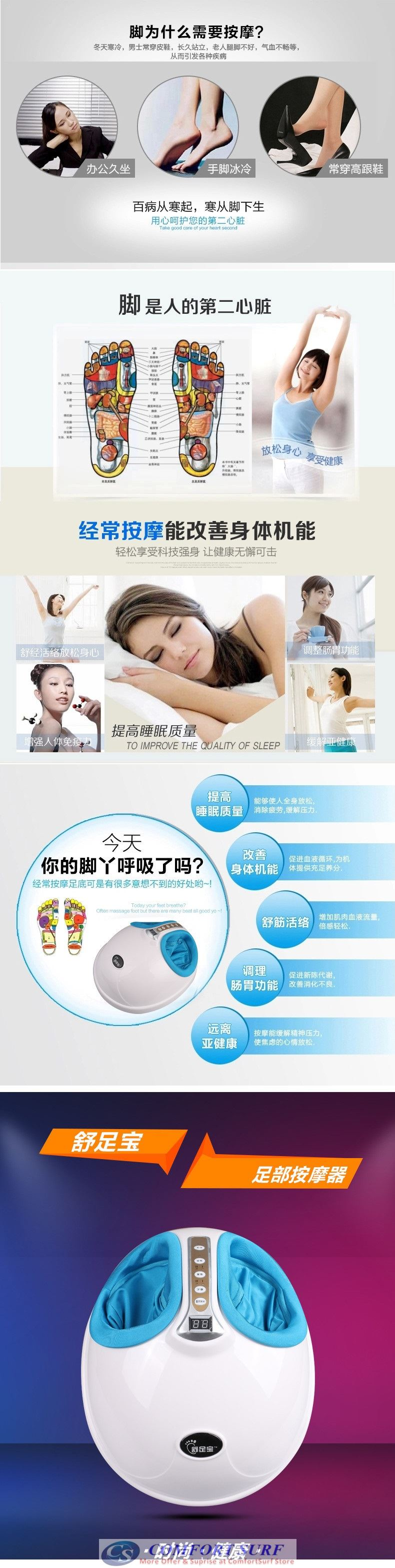 2016 Multifunctional Foot Massager Rolling Kneading Air Pressure Shiatsu Heating Heat Therapy