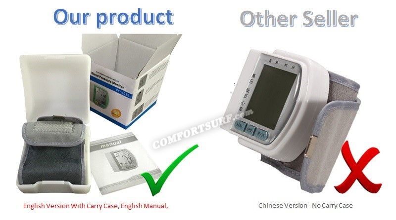 HC005 CK-102S Digital Wrist Blood Pressure LCD Monitor & Heart Beat Meter
