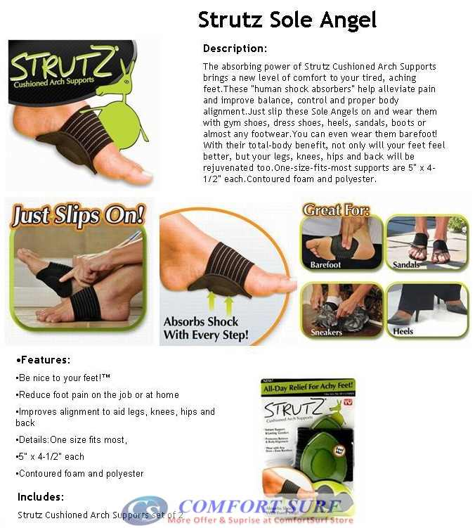 All-Day Relief for Achy Feet! STRUTZ Cushioned Arch Support