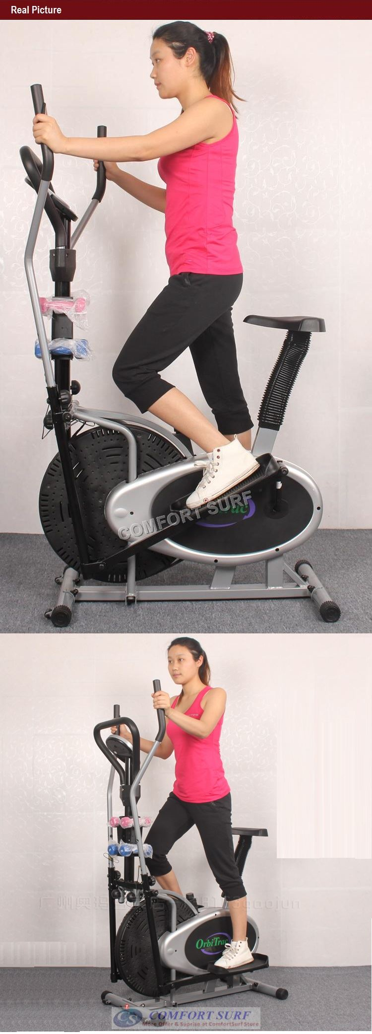 Multifunctional Orbitreck Air Elliptical Cross Trainer Twister Cardio & Fitness Body Workout With Twister / Fitness Dumbbells / Seat / LCD Display Exercise Bike