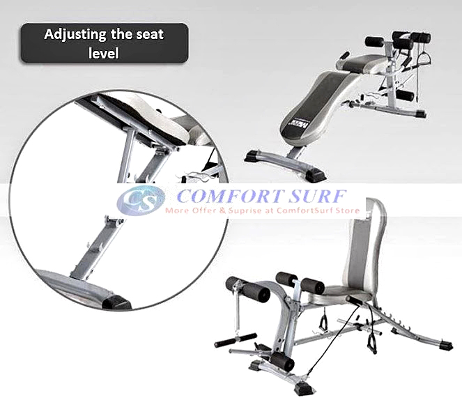 F2 Korean Heavy Duty Gym Fitness Bench Press Chair FID Bicep Leg Curl Sit Up Dumbbell Exercise