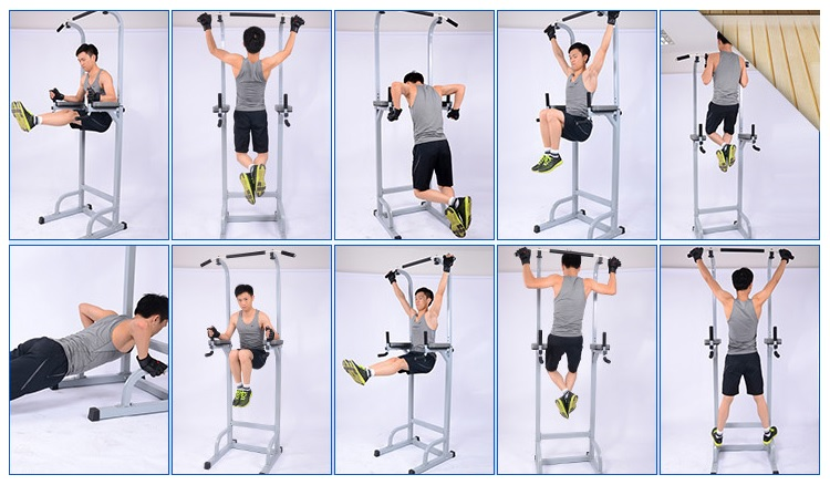 Multifunction Home Weightlifting Bench Chin-Up Pull up Bar / Single Parallel Bars / Dumbbell Sit up Chair Optional Lats Pull Down Station