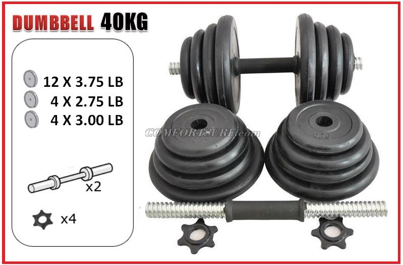 Gym Black Rubber Dumbbell V1 With 10kg 15kg 20kg 30kg 40kg /pair Adjustable Dumbbell Pole