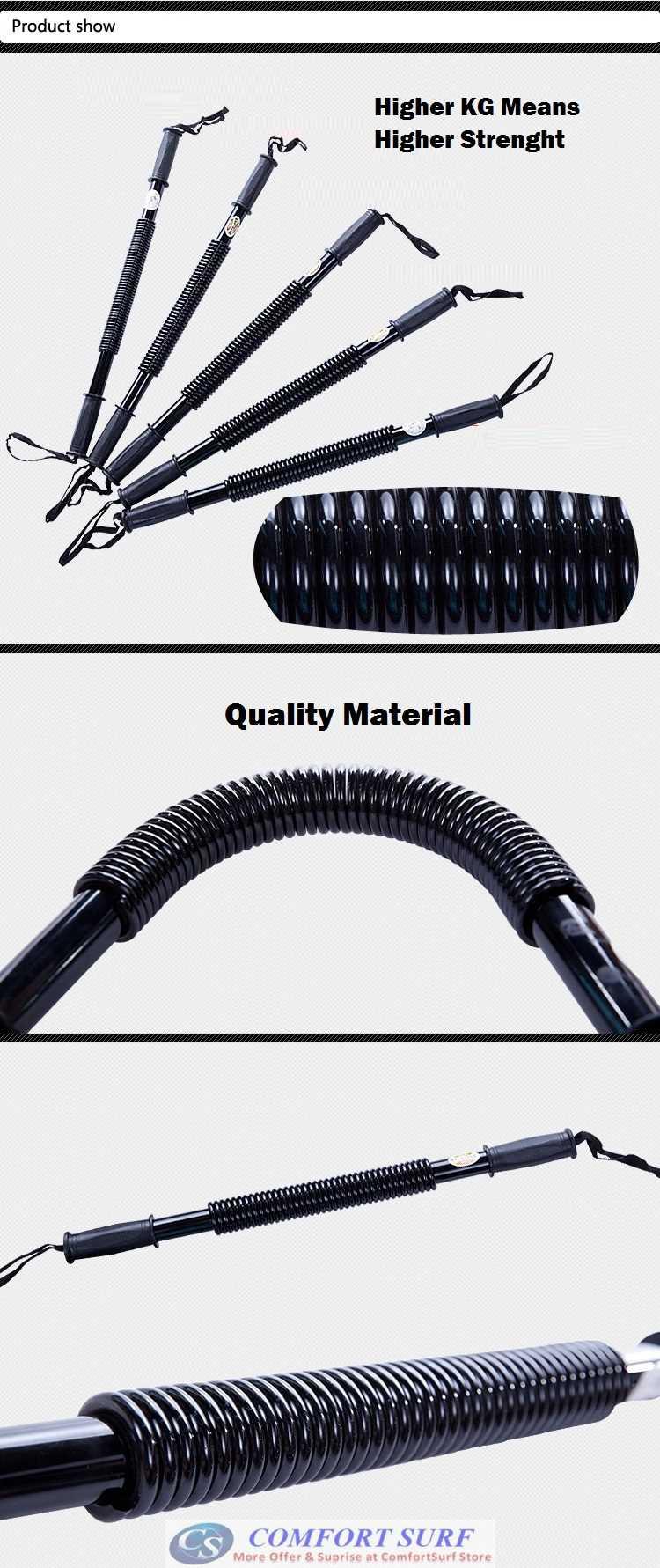 Power Twister Bar Heavy Duty 30kg 40KG 50KG Exercise & Fitness Spring Bar Arm Chest Strength Training Bar