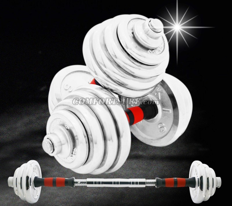 10KG / 15KG / 20KG / 30KG / 40KG Quality GYM Adjustable Electroplating Iron Plating Chrome Dumbbell Bar Mercerized Rod