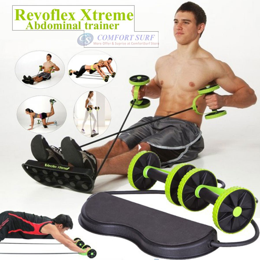 Revoflex Xtreme Workout Kit Trainer Wheeled Fitness Resistance Exerciser Rope - Perform Up to 44 Exercises at Home
