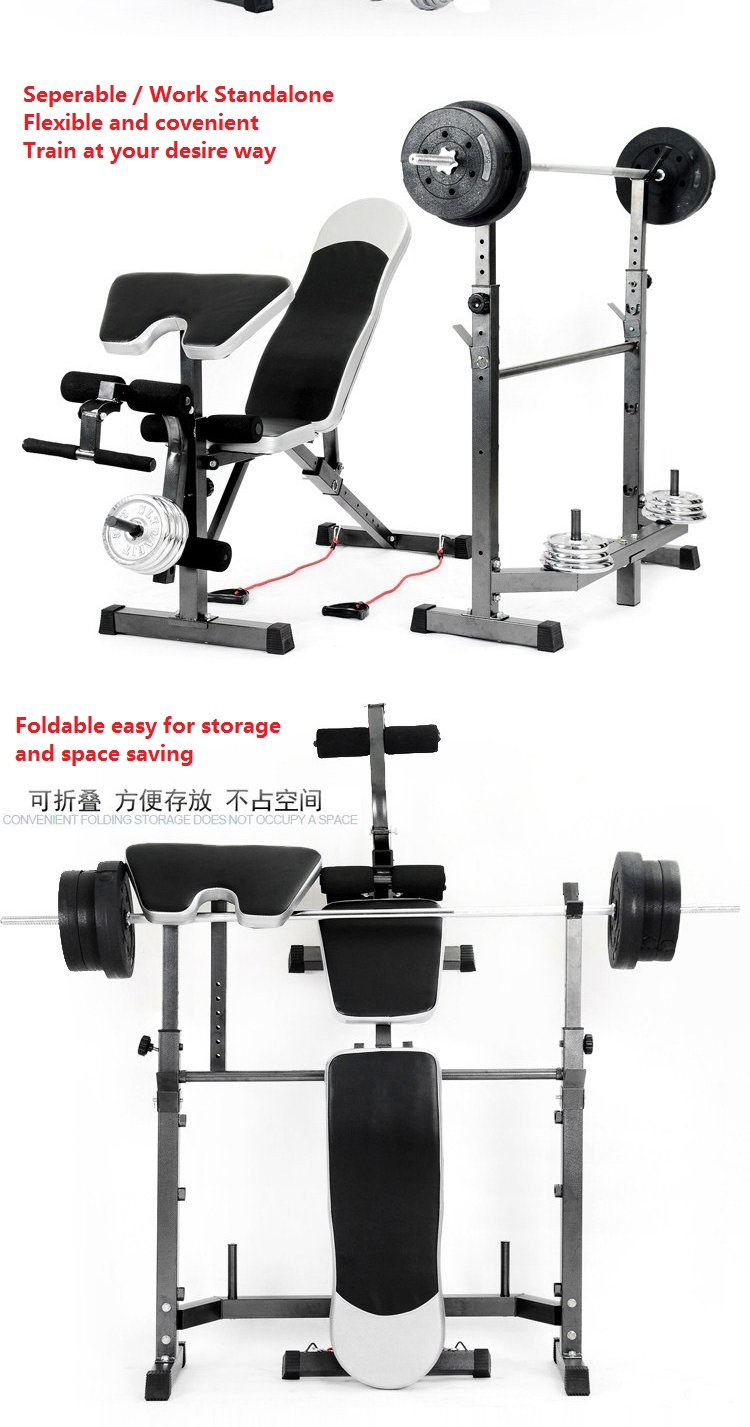 NEW Upgraded Complete Professional Weight Lifting Squat Rack + Multifunction Gym AB Fitness Sit Up Dumbbell Bench Chair