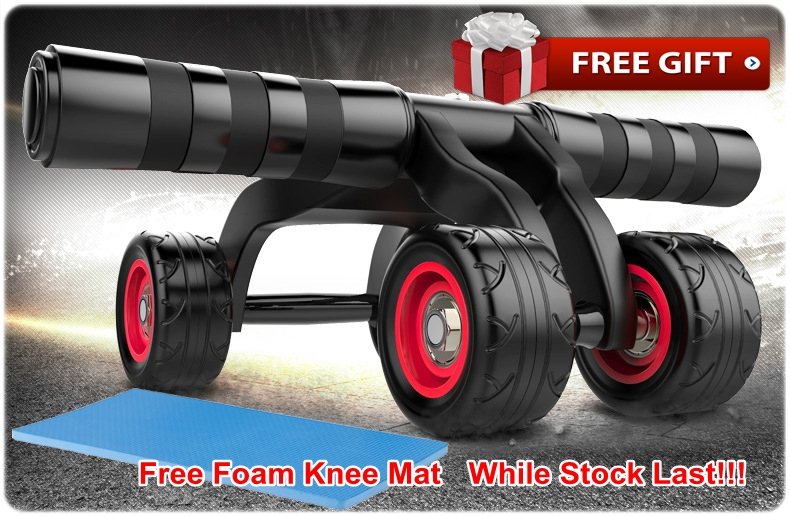 Upgraded 4 Wheels Ab Roller Pro Abdominal Muscle AB Fitness Wheel Core Obliques Training Exercise Traine Equipment Support 880 Lbs